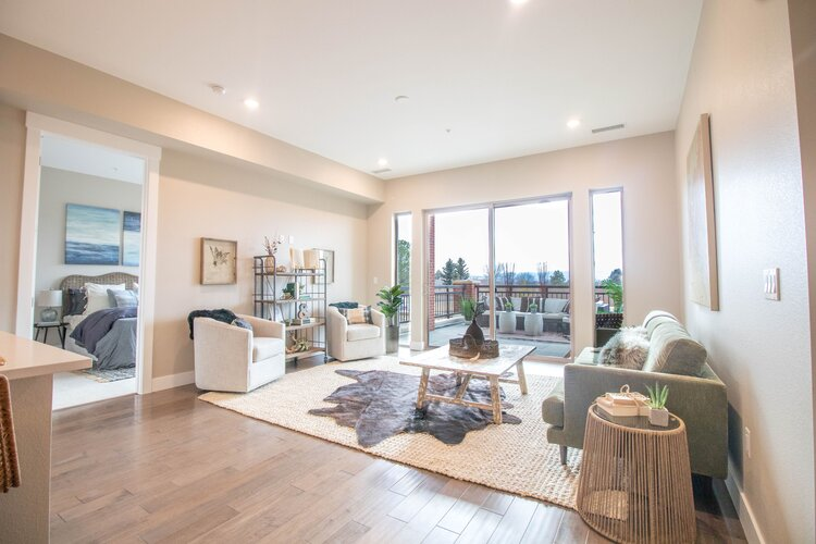 Bright, open living area with beautiful views to the West of the Front Range.